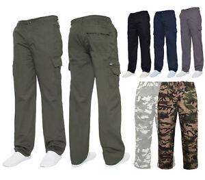 Mens Designer Chinos Cargo Combat Trousers Elasticated Pant Size M,L,XL,XXL,XXXL