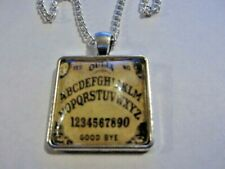 Ouija Board Glass Pendant Necklace Yellow ( Handmade )