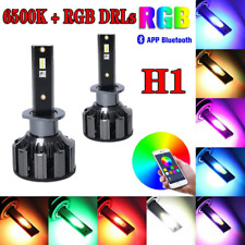 2x H1 48W APP Control Car 7600LM RGB LED Headlight Kit Driving Fog Light Bulbs