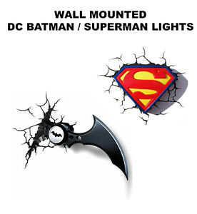 DC 3D Light FX BATMAN SUPERMAN 3D Light FX Wall Light Batarang New Wall Mounted