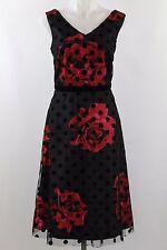 NWT Donna Rico Black Red Floral Print Mesh Overlay Polka Dot Print Dress Size 14
