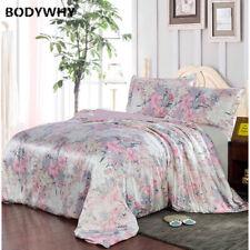 New 100% Mulberry Silk Bedding Set 3PCS Floral Quilt Cover Multicolor Multisize