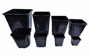 Square Plant Pot .25 .75 1 2 3 5 5.5 11Lt Strong Black Plastic Hydroponic Pots