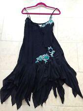 Exquisite Karen Millen black silk Ladies dress emerald jewels Beading Sz 12