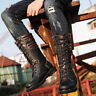 Combat Military Motorcycle Mens Mid Calf Boots Riding Punk Lace Up Casual Boots