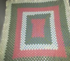 New Handcrafted 36x39 Crocheted Baby Blanket in Ivory, Pink & Sage Green