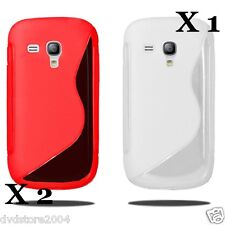 2 ROSSA + 1 BIANCA Custodia WAVE per Samsung I8190 Galaxy SIII MINI S3 Cover TPU