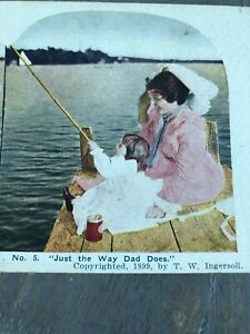 Antique Stereoview Card Photo Tinted 1899 JUST THE WAY DAD DOES Child Fishing