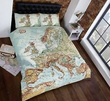 VINTAGE EUROPE MAP DOUBLE DUVET COVER NEW EUROPEAN BEDDING