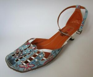 I Love Billy blue white leather sandals shoes size 42