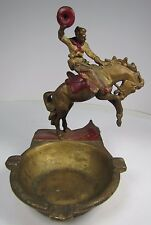 Antique Cowboy Bucking Bronco Western Americana Decorative Art Ashtray Tray
