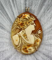 VINTAGE ANTIQUE  HAND CARVED SHELL  CAMEO PENDANT NECKLACE   WIRE WRAPPED