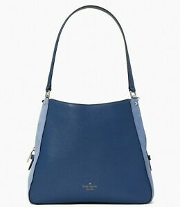 New Kate Spade Leila Suede Medium Triple compartment Shoulder bag Blueberry