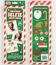 Christmas Selfie Stick Photo Props Pack of 10 Xmas Photobooth Dress Up Party