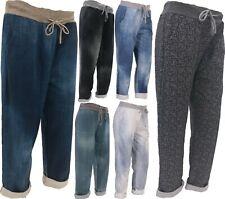 New Italian Ladies Women Elastic Waist Cotton Trousers Joggers One Size 10-16