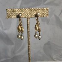 Vintage Signed Coro 1940's Gold Pearl Dangle Screw Back Earrings
