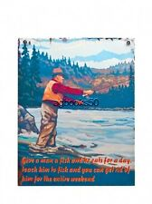 Teach a Man to Fish Sign Funny Retro  Blue Metal Wall Decoration Gift Hobby New