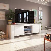JACKSON meuble TV avec LED 130 cm noir blanc élégant moderne
