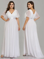 Ever-Pretty Plus Size Bridesmaid Dresses Cap Sleeves Chiffon Party Dress White
