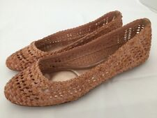 FRYE Emma Brown Woven Leather Flats Shoes Size 8.5 M