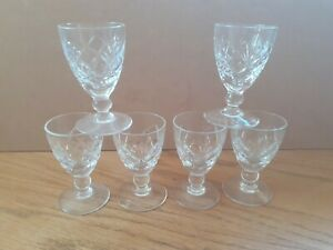 6x Brierley Crystal Liquor Glasses Stamped