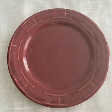 """Longaberger Pottery Woven Traditions Paprika Red 9"""" Luncheon Plate Usa"""
