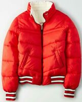 American Eagle Women's Reversible Puffer Bomber Jacket Coat Red - S M L XL