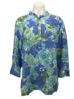 Talbots Top Shirt Women's Size L Beaded Floral Tunic Shirt 3/4 Sleeve Button Up