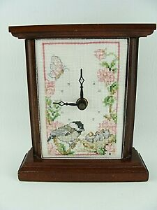 Completed Cross Stitch Clock Chickadee Babies Flowers Animals Wooden 6.5""