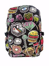 BURGER FOOD Fries Donut Sweet Pug Dog Love Backpack Rucksack School Rock Emo Bag