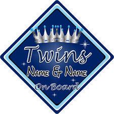 Personalizzato Bambino/Bambino a bordo auto sign ~ TWINS On Board ~ D. BLU