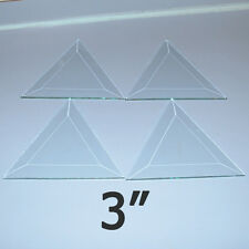 (Box of 30) Clear Glass TRIANGLE Bevels 3 x 3 x 3 inch Bevel on Top Flat on Back
