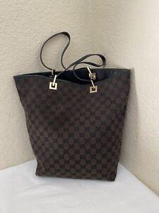Gucci GG Monogram Brown Fabric Canvas Black Leather Trim Tote Shoulder Handbag