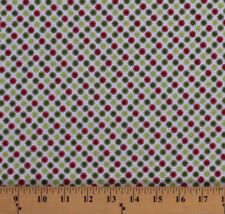Red Green Polka Dots Circles on White Christmas Cotton Fabric Print BTY D504.11