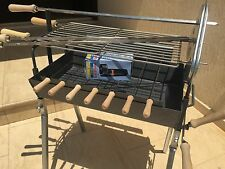 Traditional Greek Cypriot Charcoal Small Barbecue & Rotisserie Motor Cyprus BBQ