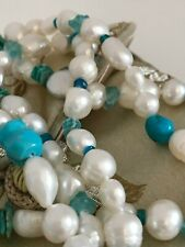 "Honora Cultured Freshwater Pearl Necklace White Turquoise 40"" single strand (E1)"