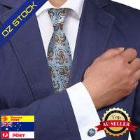 Blue Tie Brown Paisley silk mens tie cufflinks set birthday gift ideasY&G A1022