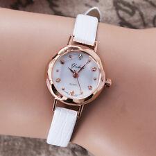 Fashion Women Quartz Watch Small Dial Thin Leather Casual Wristwatch Gold Case