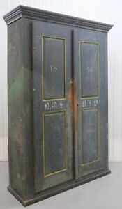 1850'S CUPBOARD CABINET ORIGINAL BLUE DISTRESS PAINTED WITH STACKING SHELFS