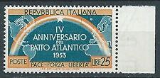 1953 ITALIA PATTO ATLANTICO 25 LIRE VARIETà MNH ** - JU047-2