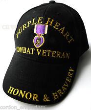 PURPLE HEART COMBAT VETERAN UNITED STATES EMBROIDERED BASEBALL CAP HAT
