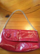 Jessica Mcclintock Red Silver Chain Strap Purse Outter Zipper Section Snaps Clos