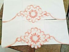 Pair Of Hand Crocheted Bed Pillow Cases -Peach/Apricot Color