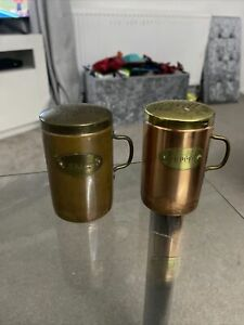 Vintage Copper Salt And Pepper Shakers Condiment Set Brass And Copper!
