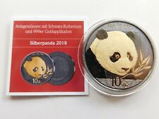 China 10 Yuan 2018 Panda Silber 999 mit schwarz Ruthenium + 999 Vergoldung👌(D1