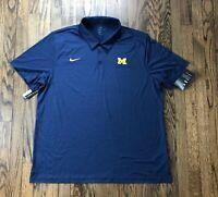 NWT Nike Dri Fit Mens University of Michigan Short Sleeve Polo Shirt Size 2XL