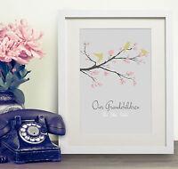 Personalised Bird Blossom Tree Family Print Gift Bespoke Present Grandparents