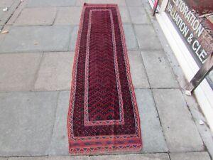 Vintage Hand Made Afghan Mushvani Oriental Red Blue Wool Narrow Runner 245x62cm