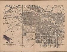 1876 xilografia Mappa Carta della città di Torino