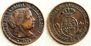 Spain-Isabel II. 1 Centimo de Escudo. 1868. SEGOVIA. EBC-/XF-. Cobre 2,5 g.